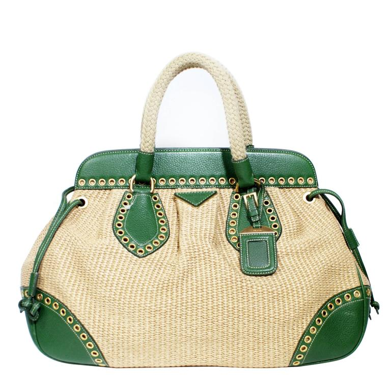 5fb9c075907e Prada Handbag Green Leather | Stanford Center for Opportunity Policy ...
