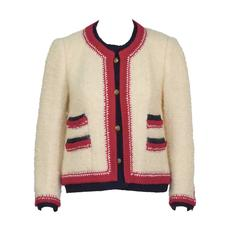 1980's Chanel Cream Boucle Jacket with Colorful Trim