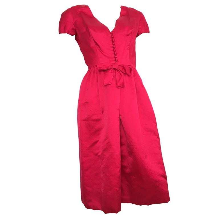 Sarmi Silk Raspberry Cocktail Evening Dress Size 4.