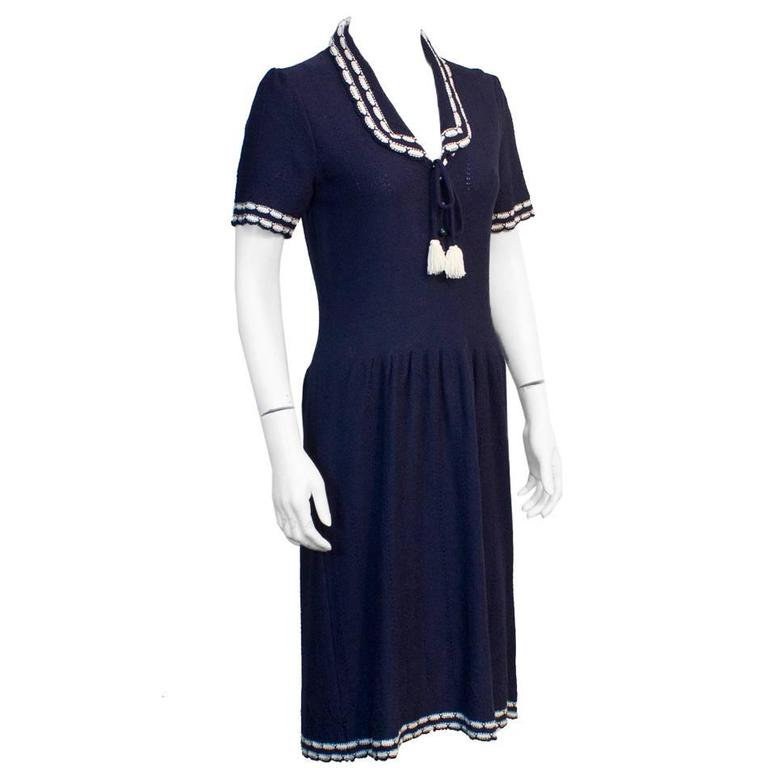 1980's Adolfo Navy knitted dress with White Piping  1