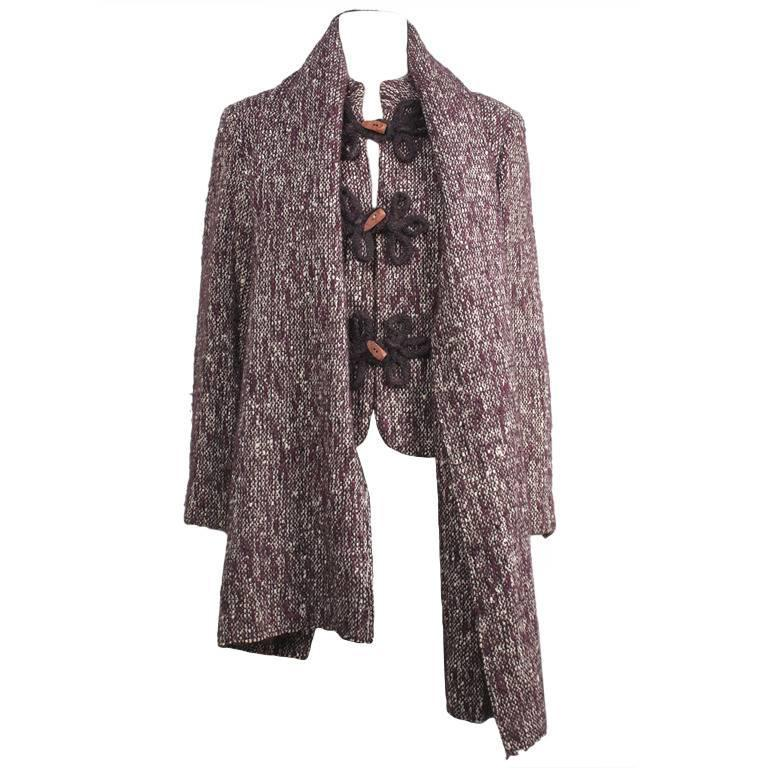 1980s Pierre Balmain Wine Multicolor Wool Tweed Jacket and Scarf For Sale