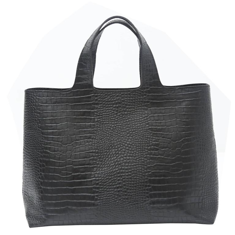 Robert Clergerie Black Leather Embossed Tote  1