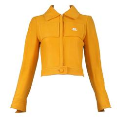1970's Courreges Tangerine Cropped Fitted Jacket w/Vinyl CC Logo