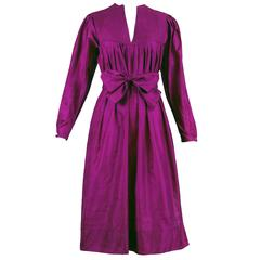 Bill Tice Magenta Silk Long Sleeved Smock Dress w/Quilted Yoke & Detachable Belt