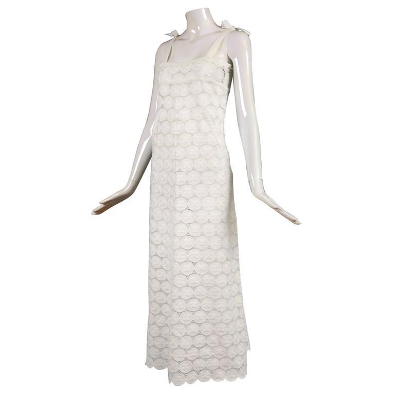 Rare Andre Courreges 100% Cotton White Eyelet Empire Waisted Maxi Dress