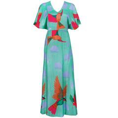 1970's Hanae Mori Maxi Dress w/Iconic Hummingbird Print