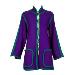 Vintage Yves Saint Laurent Purple Wool Knit Cardigan w/Green Trim&Toggle Buttons