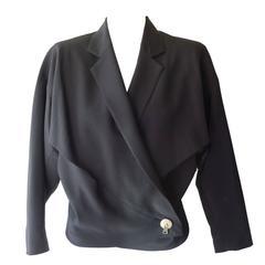 Issey Miyake Navy Blue Cropped Wool Jacket, 1980s