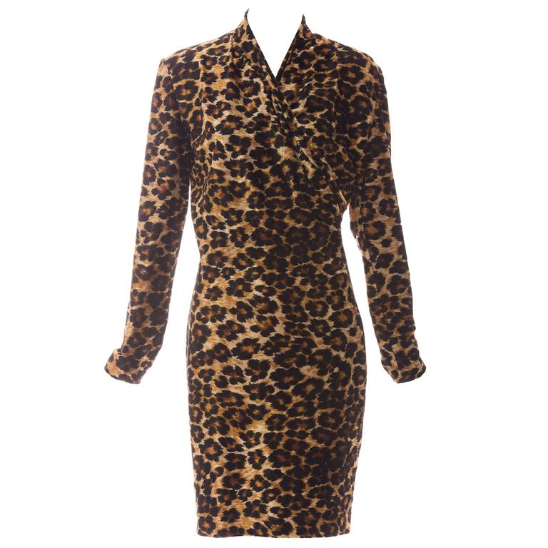 Patrick Kelly Stretch Velour Leopard Print Wrap Dress, Circa 1980's 1