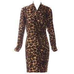 Patrick Kelly Stretch Velour Leopard Print Wrap Dress, Circa: 1980s
