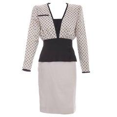 Valentino Haute Couture Polka Dot Silk Faille & Linen Skirt Suit, Circa: 1980's