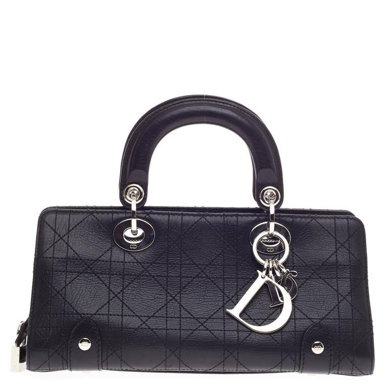 Dior Navy Leather Small Ruched Karenina Handle Bag v0UfAsgnSr