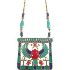 Hattie Carnegie Necklace 1960s Egyptian Revival Pendant