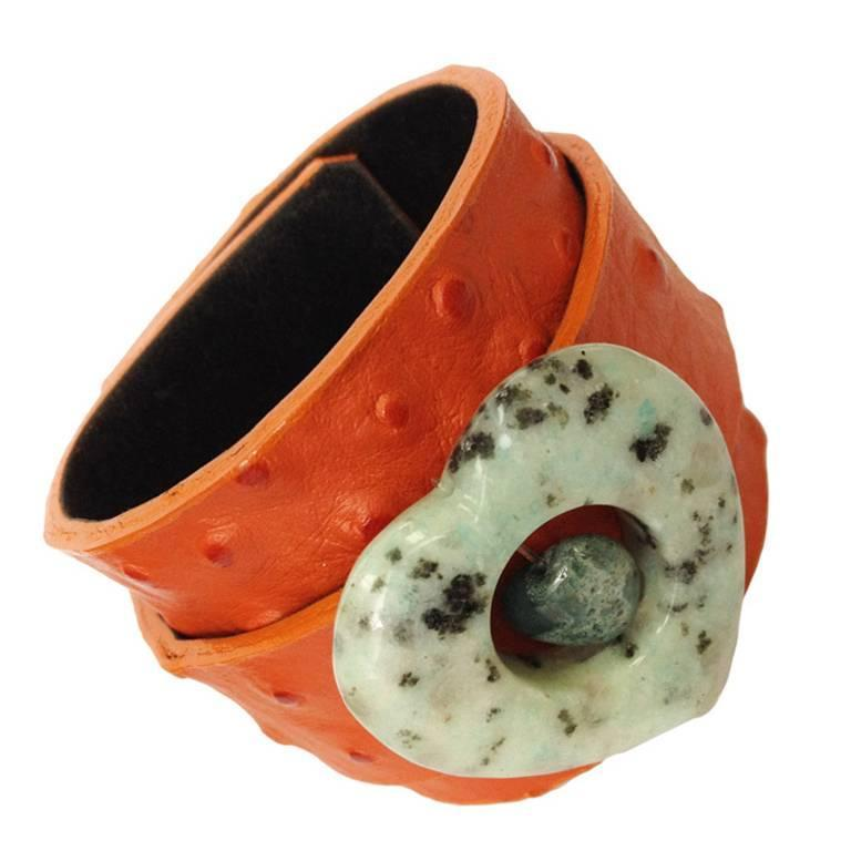 Agate Heart Leather Cuff Bracelet For Sale
