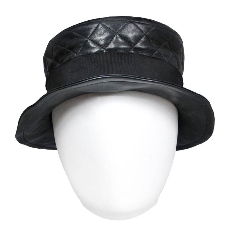 Chanel Leather Quilted Hat at 1stdibs 117e9004165