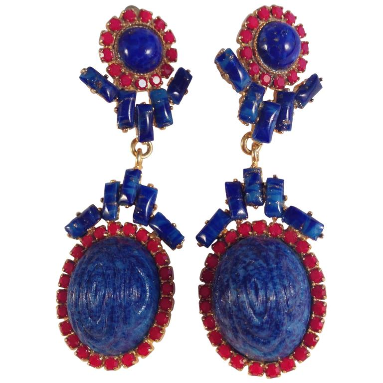 William De Lillo Earrings Blue and Red 1971 For Sale