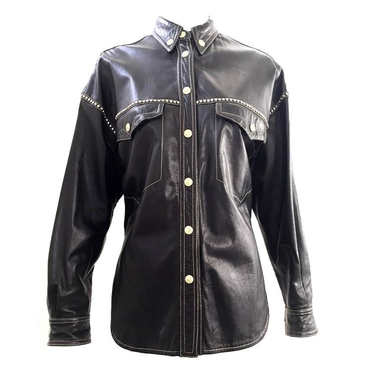 90s Gianni Versace black leather western shirt