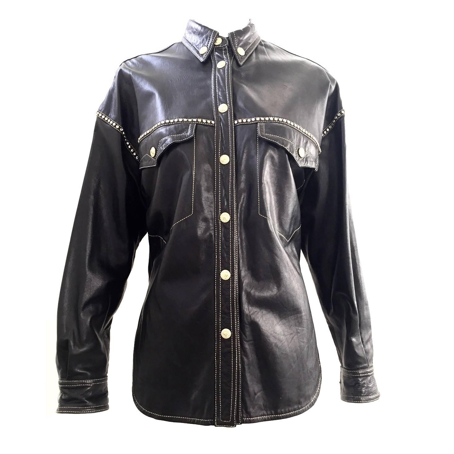 a9334d99 90s Gianni Versace black leather western shirt For Sale at 1stdibs