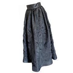 Sully Bonnelly Black Pleated Avante Garde Formal Skirt Full Length Size 8