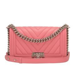 Chanel Pink Chevron Quilted Lambskin Medium Boy Bag