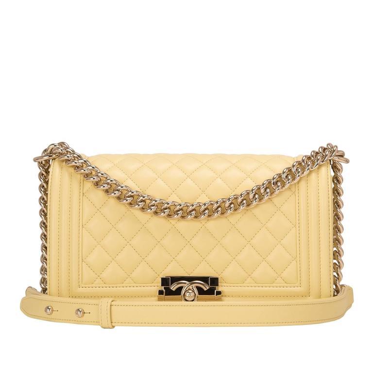 Chanel Yellow Lambskin Medium Boy Shoulder Bag For Sale