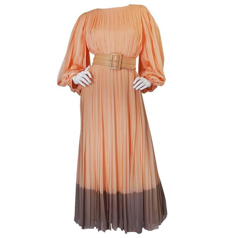 c1961 Peach Silk Chiffon Softly Pleated Galanos Dress 1