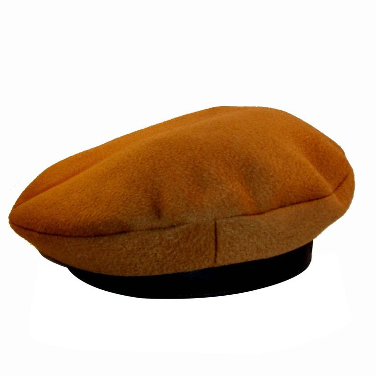Hermes Camel Tan Cashmere and Ebene Deerskin Leather Beret Cap FR Sz 59 US 7 3/8