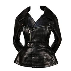 JUNYA WATANABE black leather jacket with peplum - runway fall 2011