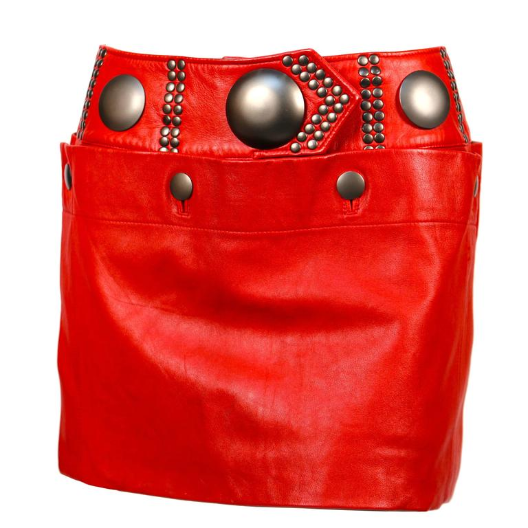 unworn 1980's ISSEY MIYAKE red leather mini skirt with oversized studs 1
