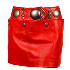 unworn 1980's ISSEY MIYAKE red leather mini skirt with oversized studs