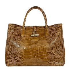 Olive Longchamp Crocodile-Embossed Tote Bag