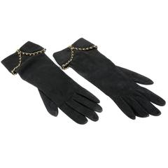 Chanel Black Suede Runway Gloves- size 7.5