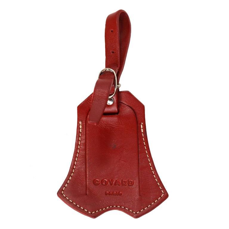 Goyard Red Leather Clochette & Luggage Tag SHW For Sale
