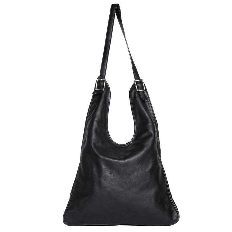 IMG  Hermès Black Leather Shoulder Bag ... d451949743380