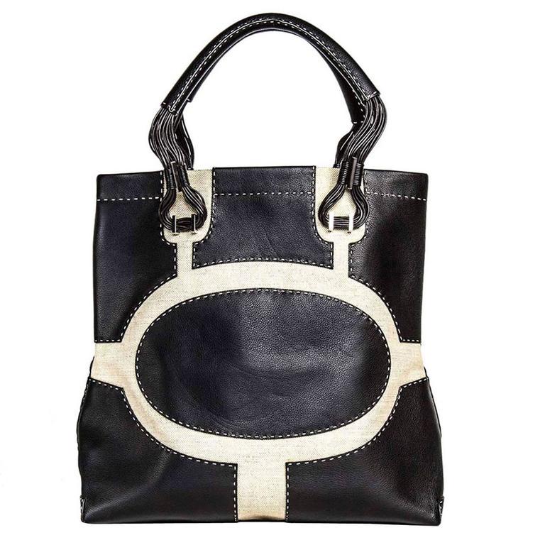 VBH Black Leather & Canvas Bag For Sale