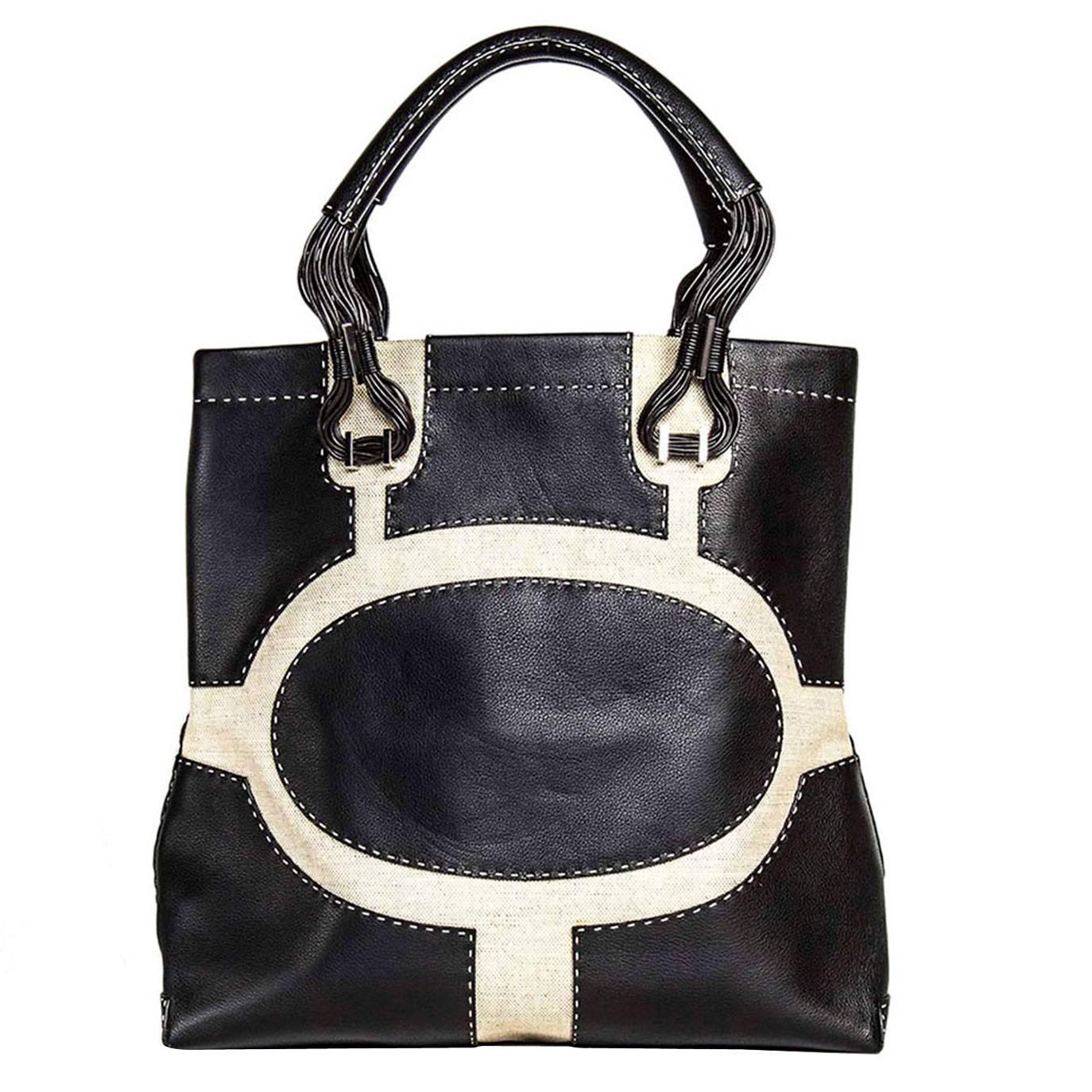1stdibs Vbh Black Leather & Canvas Bag PDgi2wRas2