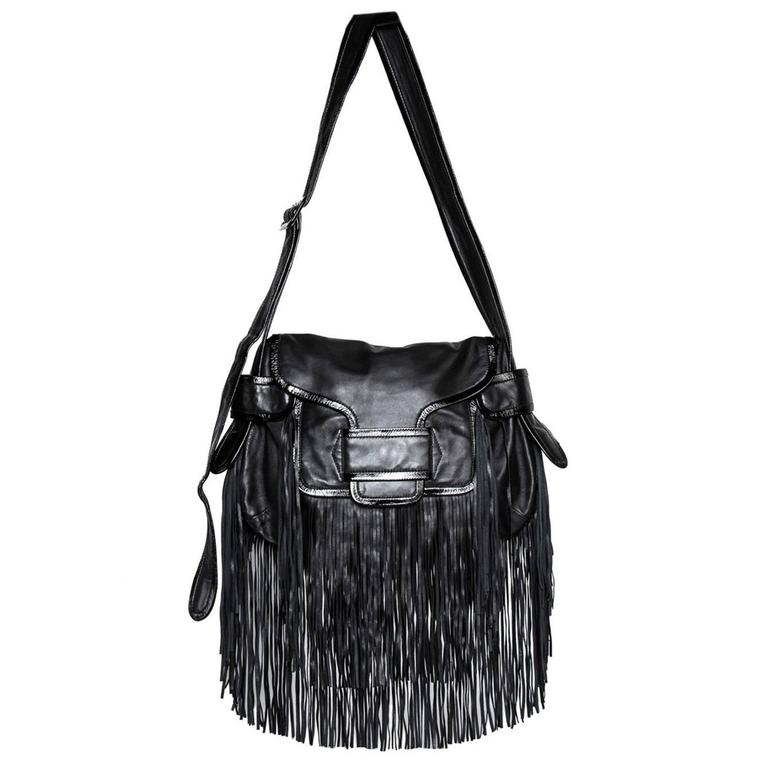 Pierre Hardy Black Leather Finges Bag