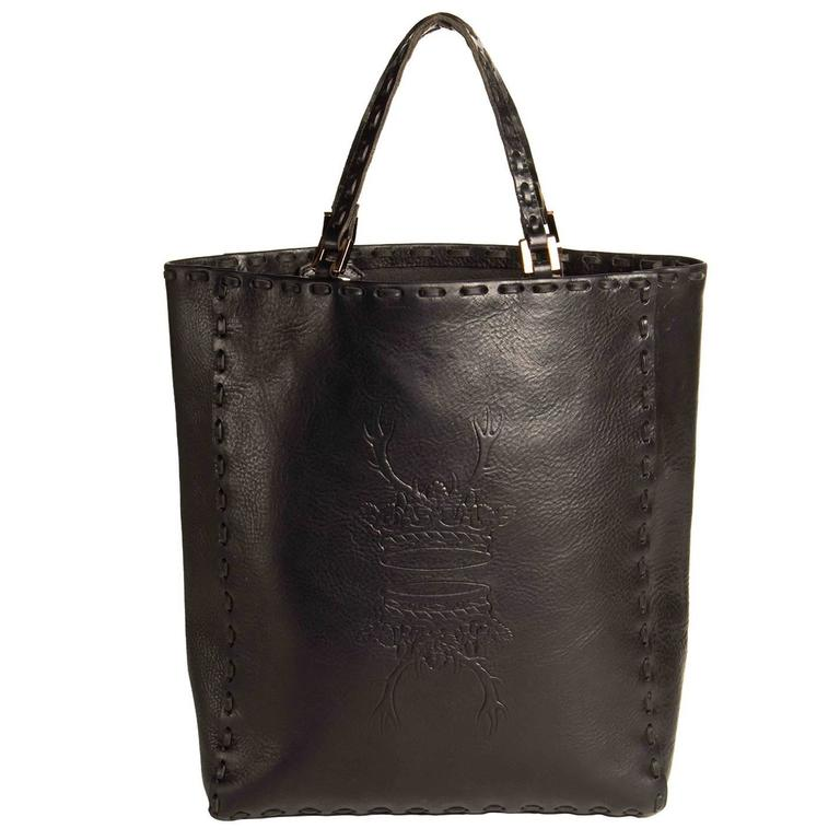 Fendi Black Leather Medium Tote Bag
