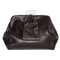 Chanel Black Leather Small Clutch Bag with Wrist Strap