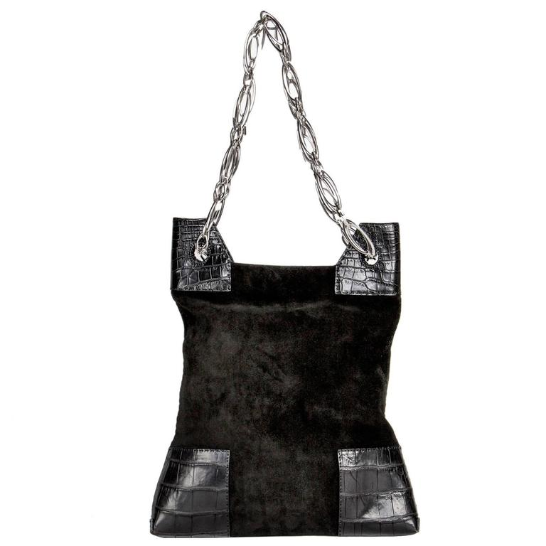 8c4ac8730a2 VBH Black Suede and Crocodile Bag For Sale at 1stdibs