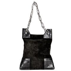 VBH Black Suede & Crocodile Bag