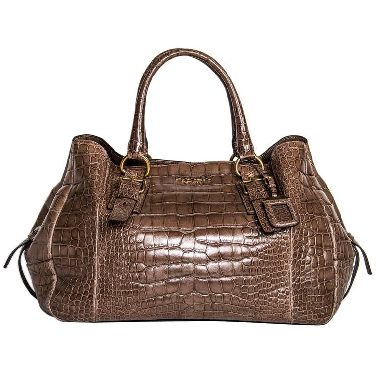 Prada Brown Crocodile Large Bag For Sale