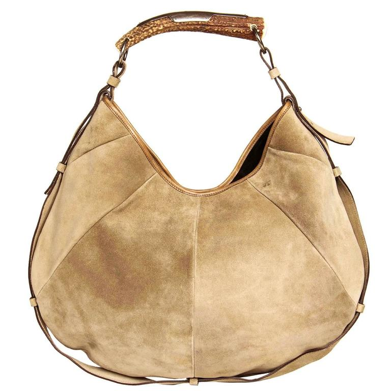 67c3a97b88 Yves Saint Laurent Iconic Taupe Suede Medium Hobo Bag with Horn Handle