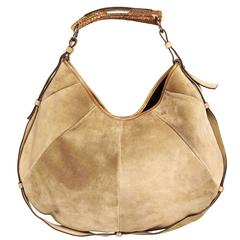 Yves Saint Laurent Iconic Taupe Suede Medium Hobo Bag with Horn Handle