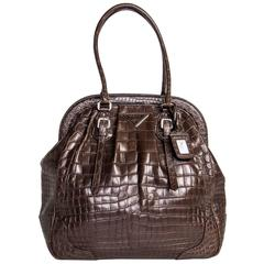 Prada Brown Crocodile Large Frame Bag