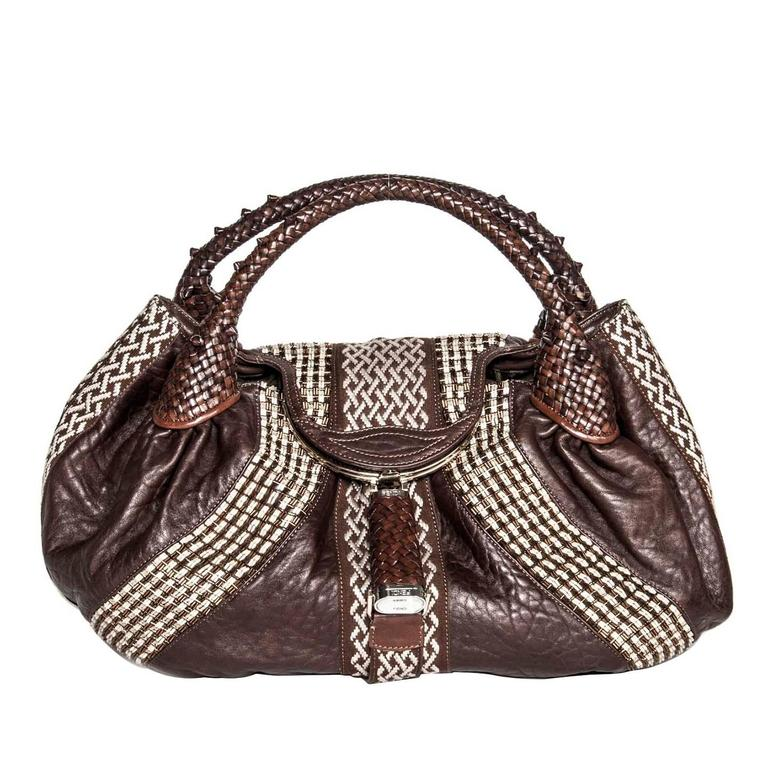 Fendi Brown Leather & Beads Large Bag