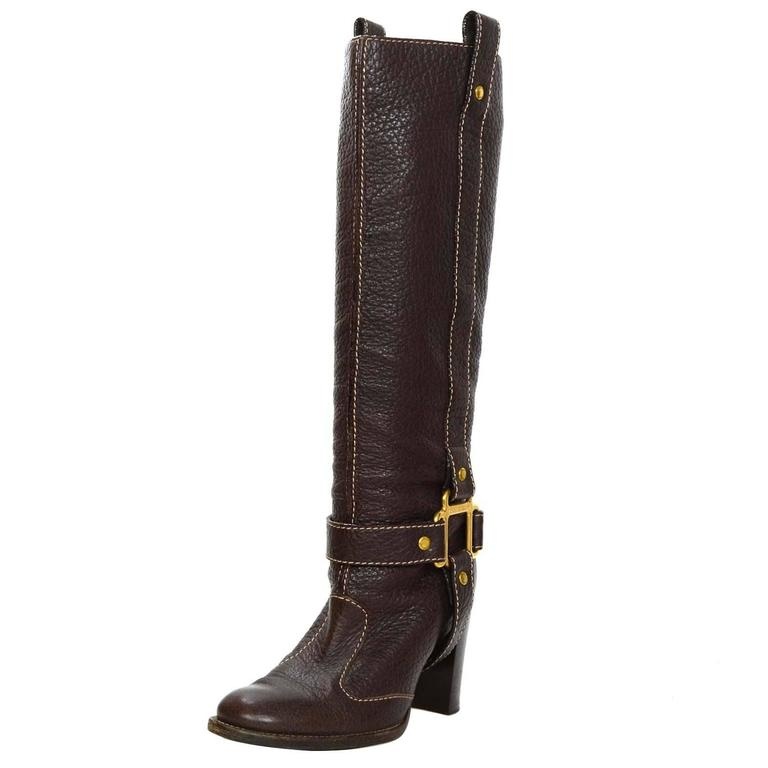 Dolce & Gabbana Brown Leather Tall Boots 