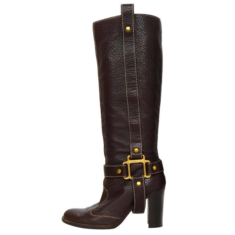 Dolce & Gabbana Brown Leather Tall Boots sz 35 For Sale