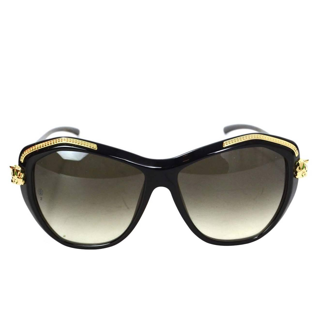 Cartier Black Resin Panthere Wild de Cartier Sunglasses ...