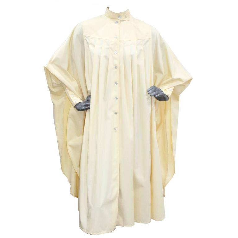 Bill Gibb ivory pleated opera coat, c. 1970s For Sale